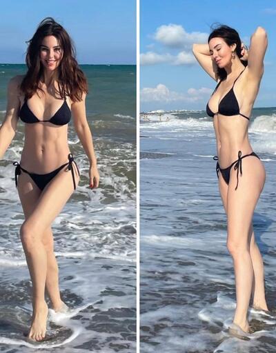 Her gören bir daha baktı! Defne Samyeli bikinili pozlarıyla sosyal medyayı salladı