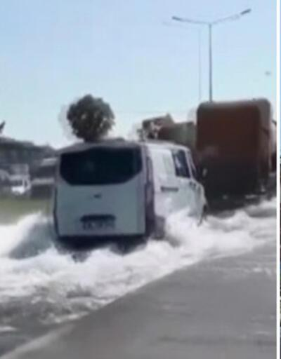 Sancaktepe'de İSKİ'nin borusu patladı; yollar şelaleye döndü