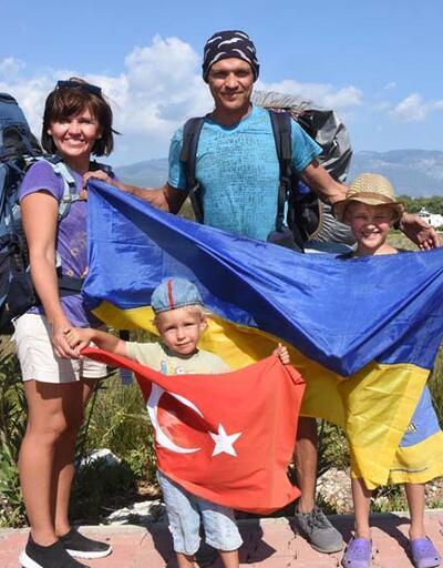 Ukraynalı çift ve 2 çocukları, Likya Yolu'nu 2 ayda yürüyecek