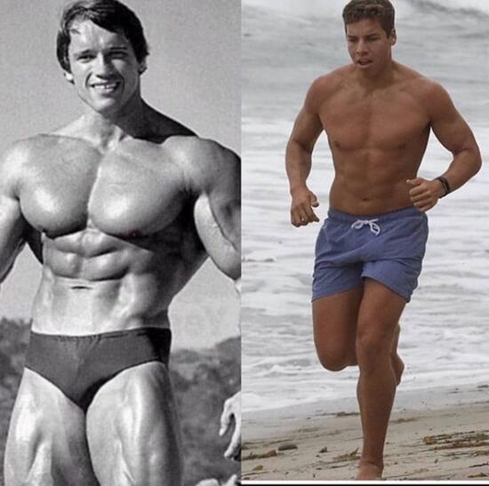 Arnold Schwarzenegger'in oğlu hık demiş babasının burnundan düşmüş