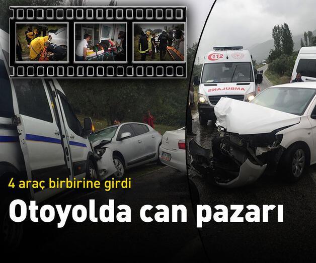 Son dakika: Yağmurda 4 araç birbirine girdi: 18 yaralı