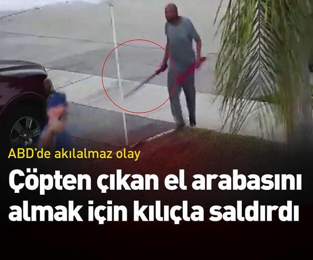 Son dakika: Çöpten çıkan el arabasını almak için kılıçla saldırdı