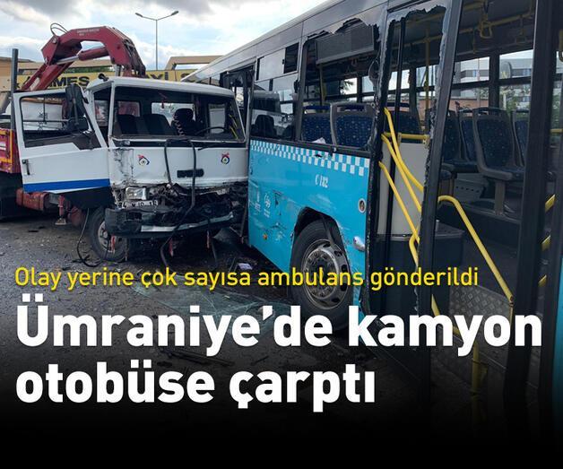Son dakika: Son dakika... Ümraniye'de vinç yüklü kamyon otobüse çarptı