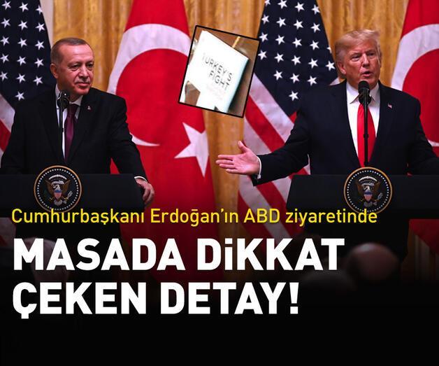 Son dakika: Erdoğan'ın ABD ziyaretinde masada dikkat çeken detay