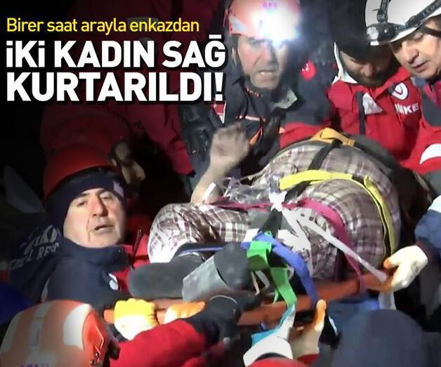 Son dakika: Enkazdan birer saat arayla 2 kadın sağ çıkarıldı