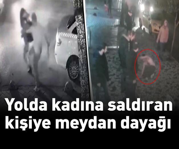 Son dakika: Yolda kadına saldıran kişiye meydan dayağı