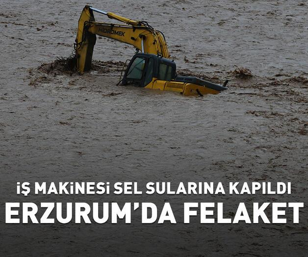 Son dakika: İş makinesi sel sularına kapandı