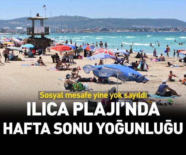 Son dakika: Ilıca Plajı'nda hafta sonu yoğunluğu