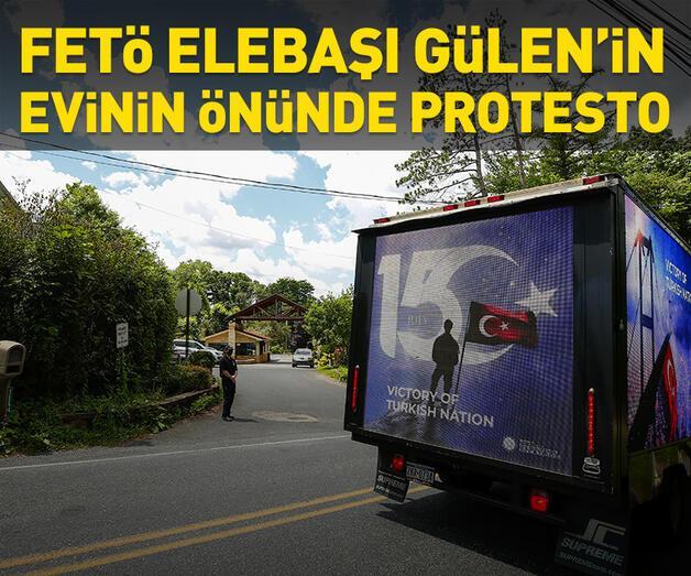 Son dakika: FETÖ elebaşı Gülen'nin evinin önünde protesto