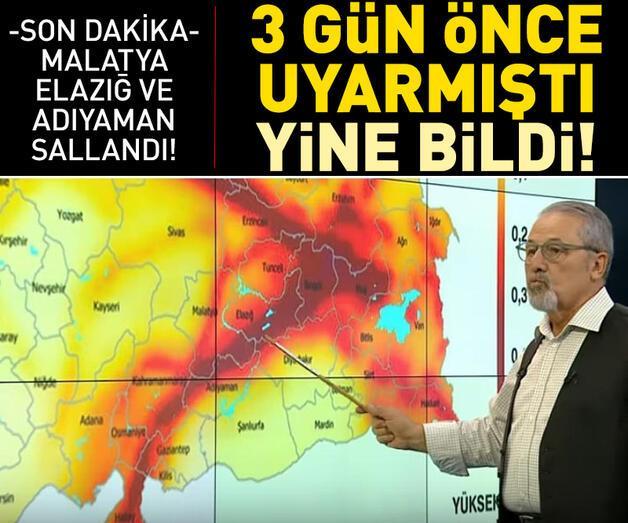 Son dakika:  Prof. Dr. Naci Görür Malatya bölgesini depreme karşı uyarmıştı