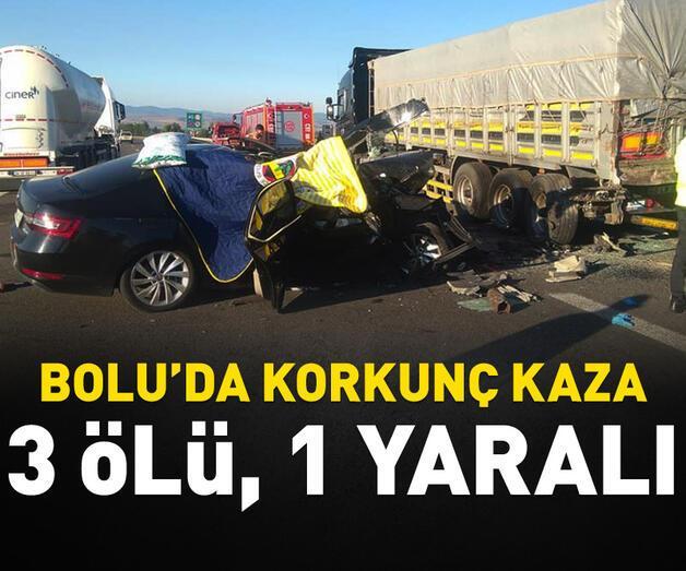 Son dakika: Bolu'da otomobil TIR'a arkadan çarptı: 3 ölü, 1 yaralı