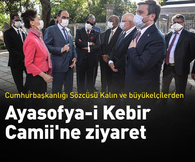 Son dakika: Büyükelçilerle Ayasofya-i Kebir Camii'ni ziyaret etti
