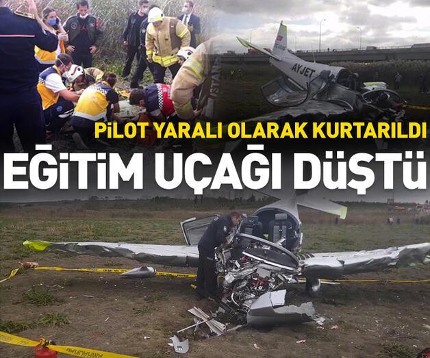 Son dakika: Büyükçekmece'de eğitim uçağı düştü