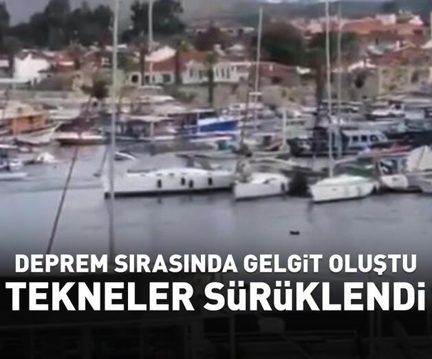 Son dakika: Deprem sırasında gelgit oluştu, tekneler sürüklendi
