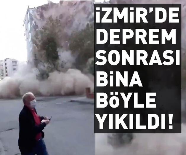 Son dakika: İzmir depremi sonrası binanın yıkılma anı cep telefonu kamerasında | Video