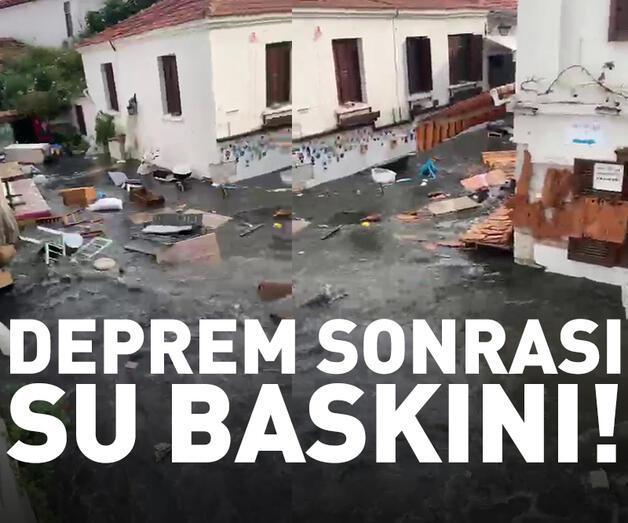 Son dakika: Depremin ardından cadde ve sokaklar su altında kaldı