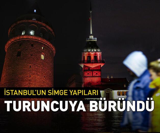 Son dakika: İstanbul'un kuleleri ve köprüleri turuncuya büründü