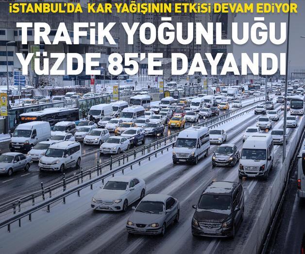 Son dakika: İstanbul'da trafik yoğunluğu yüzde 85'e kadar çıktı