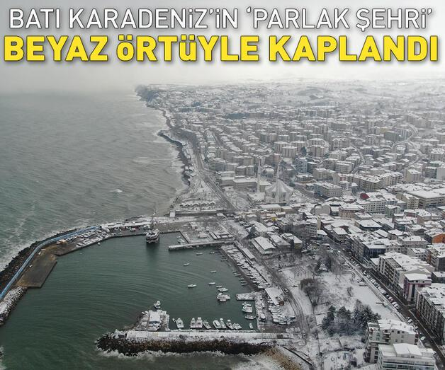 Son dakika: Batı Karadeniz'in 'parlak şehri' beyaz örtüyle kaplandı