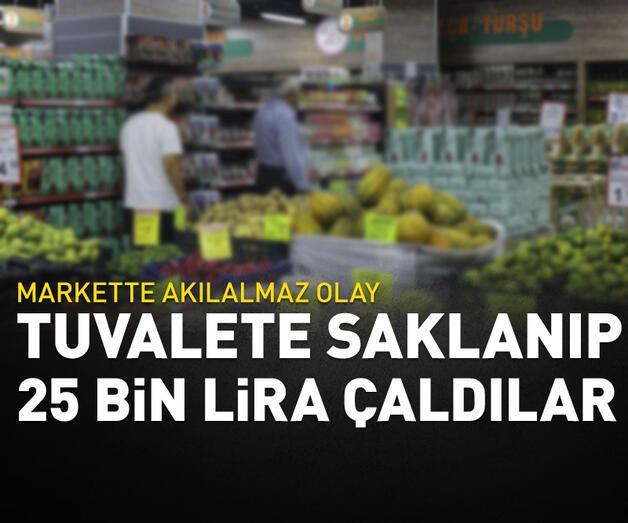 Son dakika: Marketin tuvaletinde saklanıp 25 bin lirayı çaldılar
