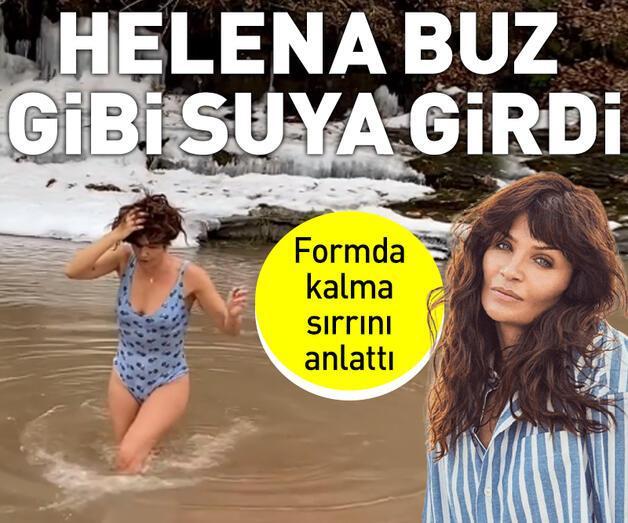 Son dakika: Helena Christensen buz gibi nehre girdi
