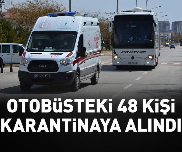 Son dakika: Kovid-19 testi pozitif çıkan yolcunun bulunduğu otobüsteki 48 kişi karantinaya alındı