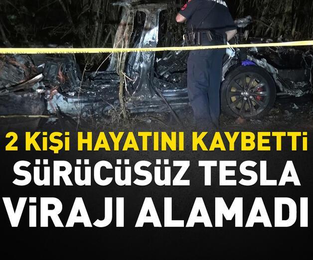 Son dakika: Sürücüsüz Tesla kaza yaptı: 2 kişi hayatını kaybetti