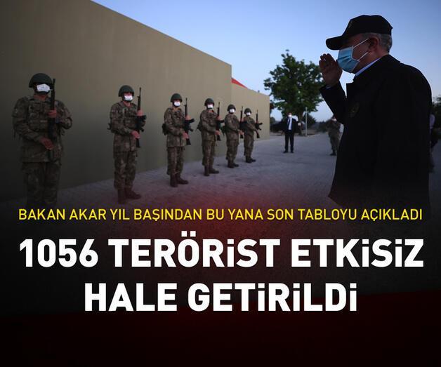 Son dakika: Bakan Akar: 1 Ocak'tan bugüne kadar 1056 terörist etkisiz hale getirildi