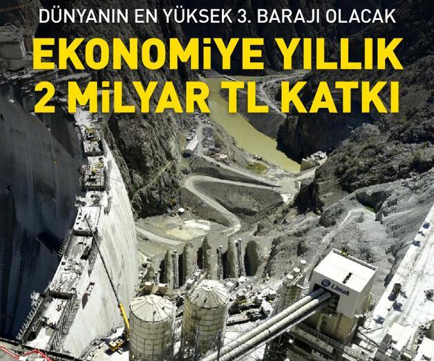 Son dakika: Türkiye'nin en yüksek barajında ekonomiye yıllık 2 milyar TL katkı
