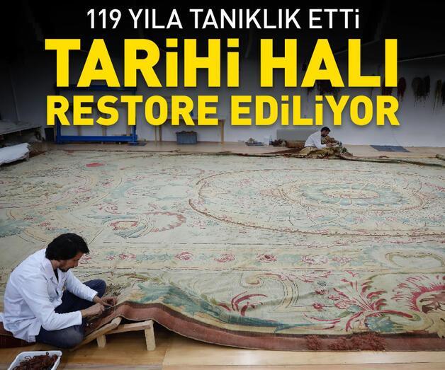 Son dakika: Dolmabahçe Sarayı'nın 119 yıllık tarihi halısı restore ediliyor