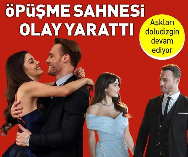 Son dakika: Hande Erçel ve Kerem Bürsin'in öpüşme sahnesi diziye damga vurdu