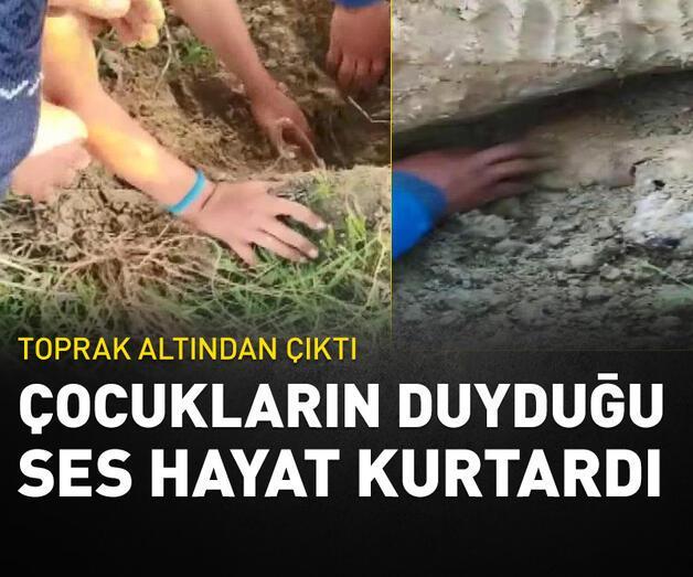Son dakika: Çocukların duyduğu ses toprak altındaki köpekleri ölümden kurtardı