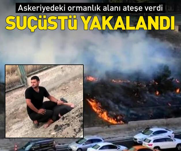Son dakika: Askeriyedeki ormanlık alanı ateşe verdi