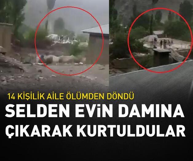 Son dakika: 14 kişilik aile, selde yıkılan evin damına çıkarak kurtulmuş