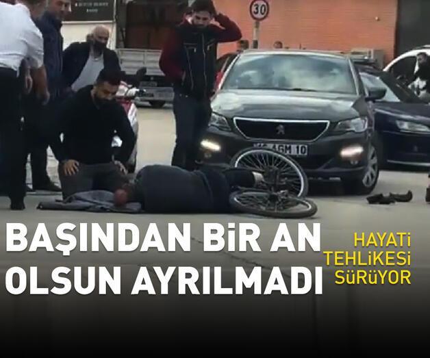 Son dakika: Otomobille çarptığı bisikletlinin başında ambulansı bekledi