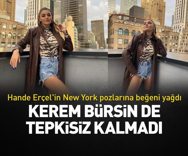 Son dakika: Hande Erçel'in New York pozlarına beğeni yağdı!  Kerem Bürsin de yorum yaptı