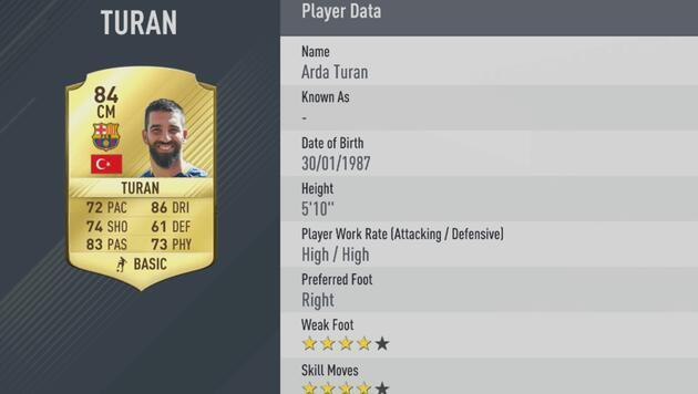 FIFA 17'de puanlarına göre en iyi 10 Türk oyuncu