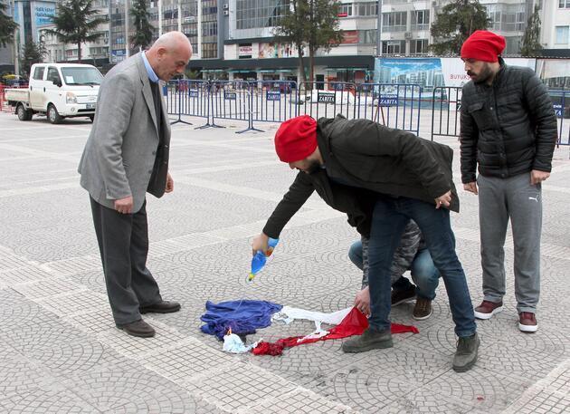 Samsun'da Hollanda bayrağı yerine Fransa bayrağı yaktılar