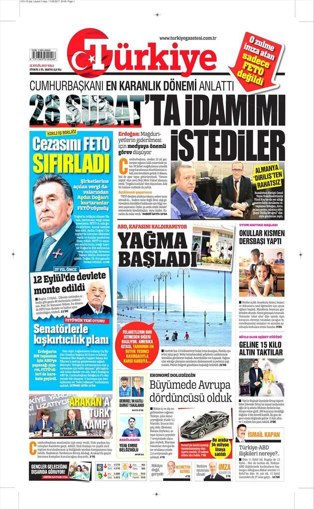 12 Eylül 2017 - Gazetelerin birinci sayfaları