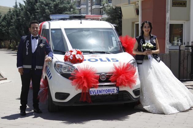 Polis Ciftin Gelin Arabasi Polis Araci Oldu