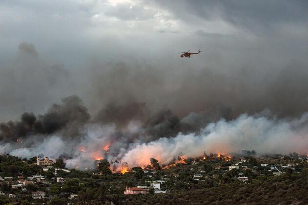 Yunanistan'daki orman yangınından son kareler