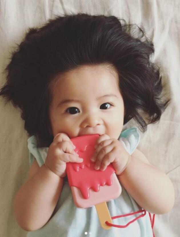 Hızlı uzayan saçlarıyla Instagram'ı sallayan 6 aylık Japon bebek