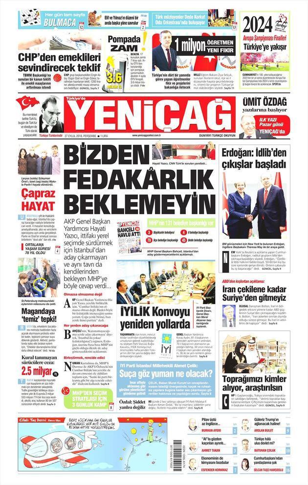 27 Eylül 2018 - Gazete manşetleri