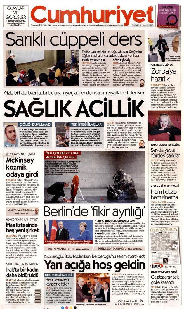 29 Eylül 2018 - Gazete manşetleri