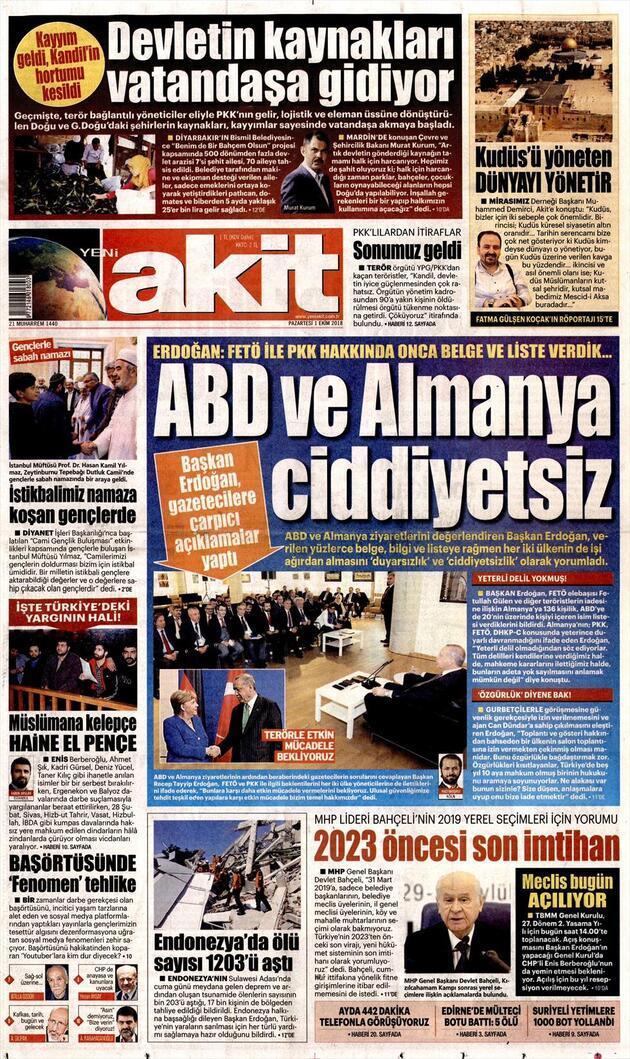 1 Ekim 2018 - Gazetelerin birinci sayfaları