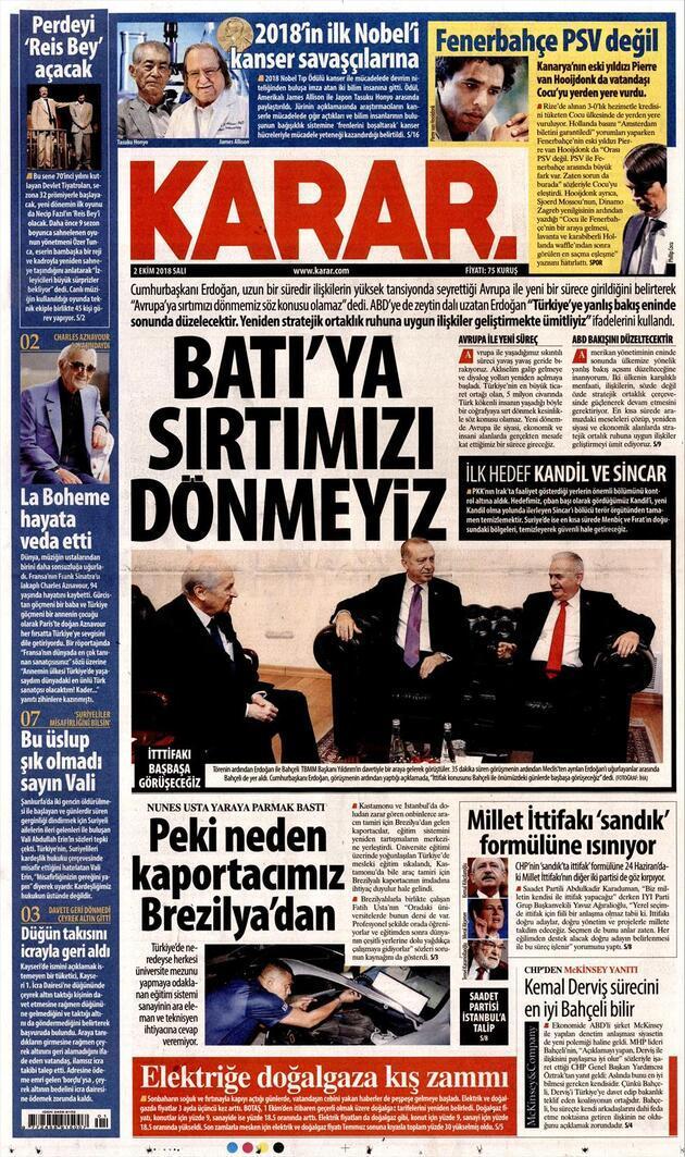 2 Ekim 2018 - Gazetelerin birinci sayfaları