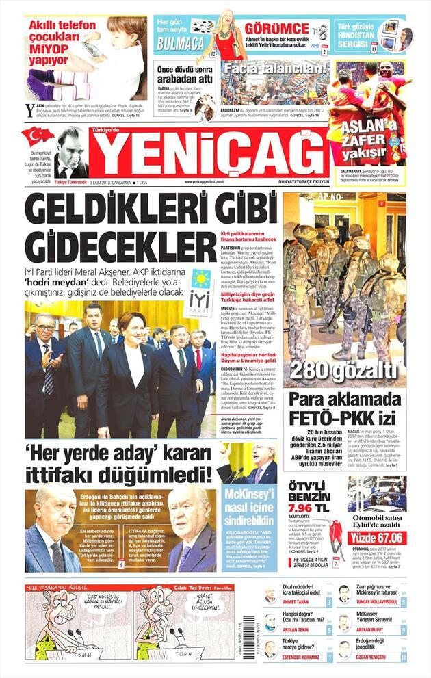 3 Ekim 2018 - Gazete Manşetleri