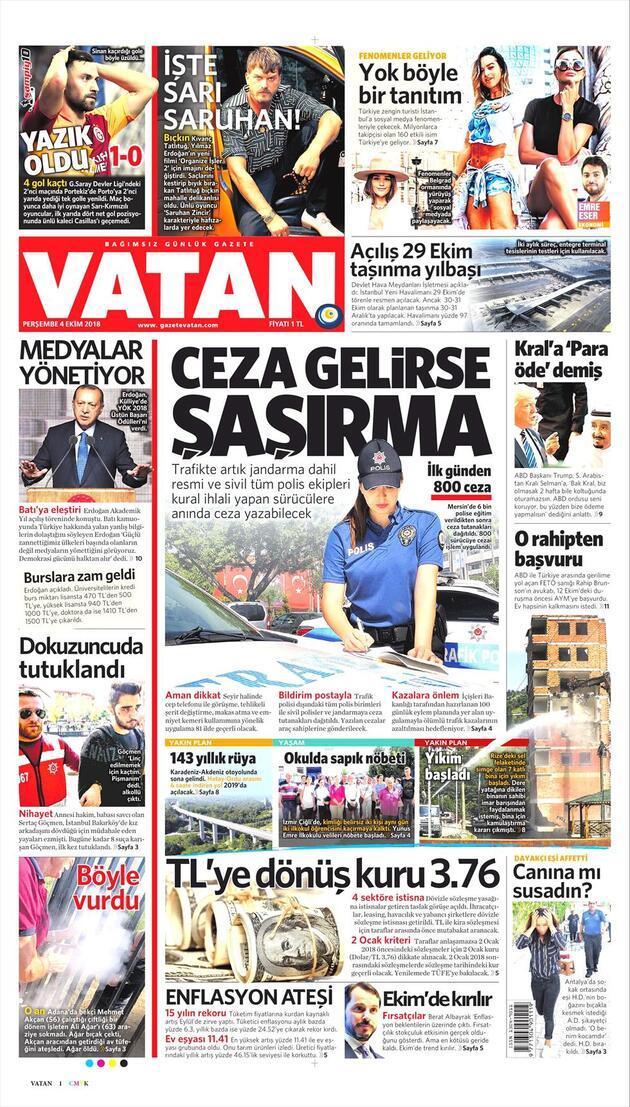 4 Ekim 2018 - Gazete Manşetleri