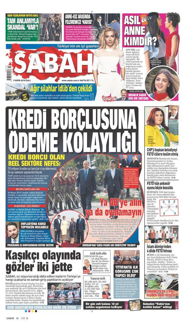 9 Ekim 2018 - Gazetelerin birinci sayfaları