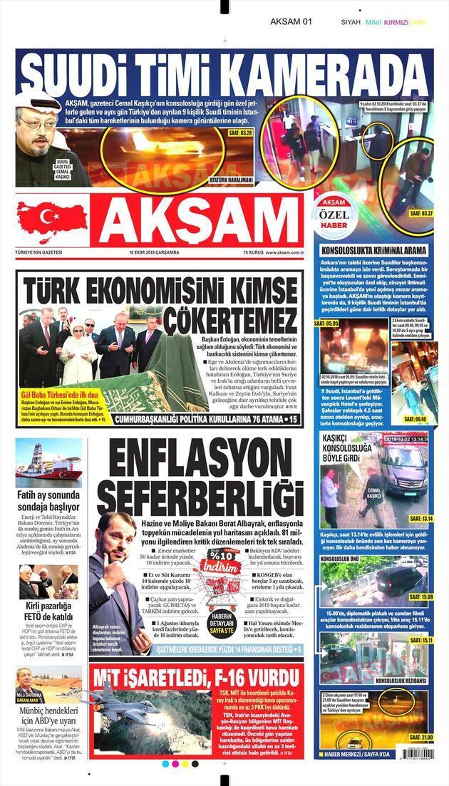 10 Ekim 2018 - Gazete Manşetleri